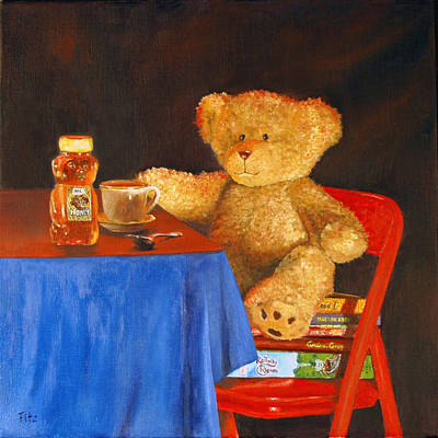 Tea For Teddy Poster by Rick Fitzsimons