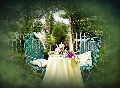 Tea In My Garden Poster by Trudy Wilkerson