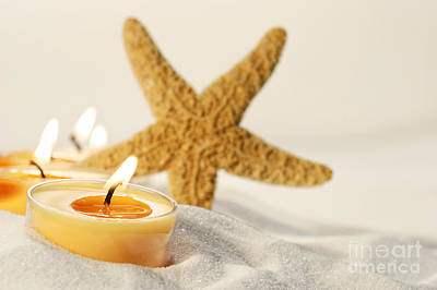 Poster featuring the photograph Tea Light Candles In Sand With Star Fish by Sandra Cunningham