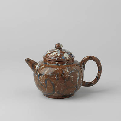 Teapot With Lid, Blue-white Marbled. The Lid Features Three Poster by Quint Lox
