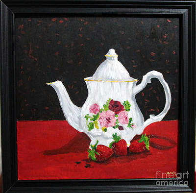 Teapot With Strawberries Poster by Rana
