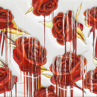 Poster featuring the digital art Tear-stained Roses by Liane Wright