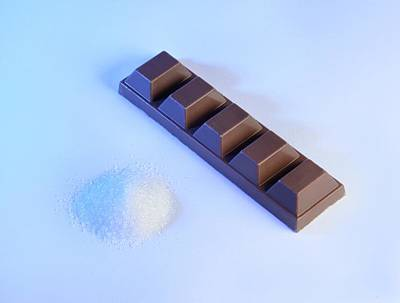 Teaspoon Of Sugar With Bar Of Chocolate Poster by Cordelia Molloy
