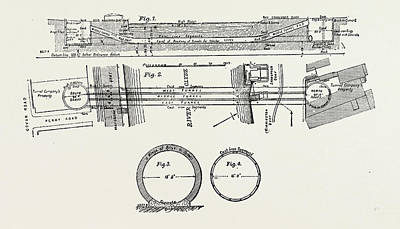Technical Drawing Of The Tunnel Under The River Clyde Poster