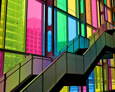 Poster featuring the photograph Technicolour Stairway by Trever Miller