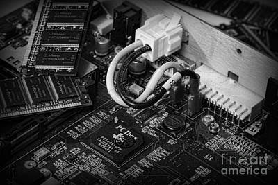 Technology - Motherboard In Black And White Poster by Paul Ward
