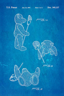 Teddy Bear And Mask 2 Patent Art 1994 Blueprint Poster by Ian Monk