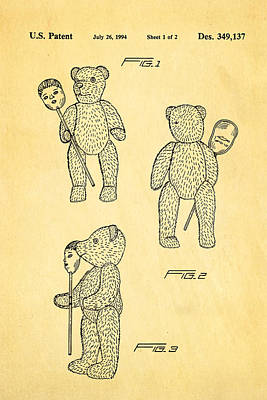 Teddy Bear And Mask Patent Art 1994 Poster by Ian Monk