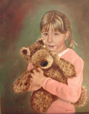 Poster featuring the painting Teddy Bear by Sharon Schultz