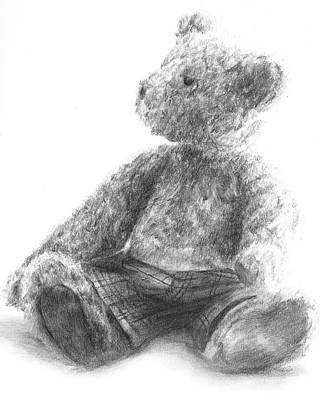 Poster featuring the drawing Teddy Study by Meagan  Visser