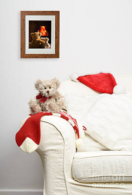Teddy Waiting For Christmas Poster by Amanda Elwell