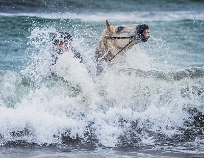 Teenager Horseback Riding In The Sea Poster by Panoramic Images