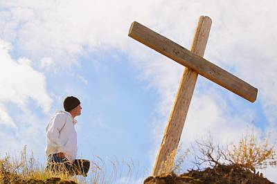 Teenager Standing At Cross Poster