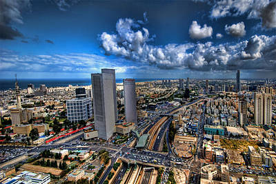 Tel Aviv Center Skyline Poster by Ron Shoshani