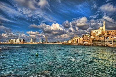 Poster featuring the photograph Tel Aviv Jaffa Shoreline by Ron Shoshani