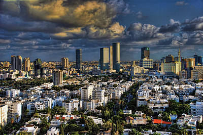 Poster featuring the photograph Tel Aviv Skyline Fascination by Ron Shoshani