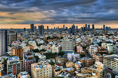Poster featuring the photograph Tel Aviv Skyline Winter Time by Ron Shoshani