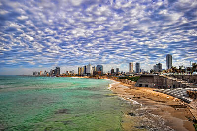 Tel Aviv Turquoise Sea At Springtime Poster by Ron Shoshani