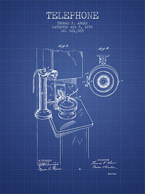 Telephone Patent From 1898 - Blueprint Poster