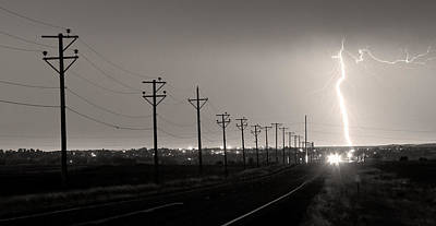 Telephone Poles Black And White Sepia Poster