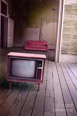 Television In Old Abandoned Building Poster by Jill Battaglia