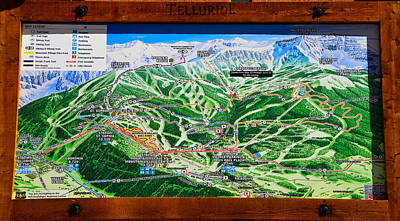 Telluride Ski Map Detail  Poster by David Lee Thompson