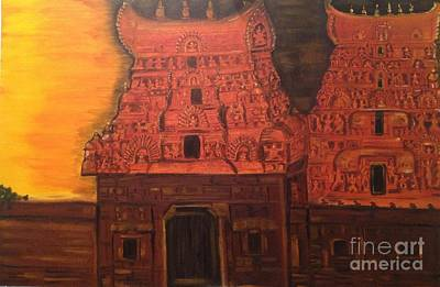 Poster featuring the painting Temple At Dawn 2 by Brindha Naveen
