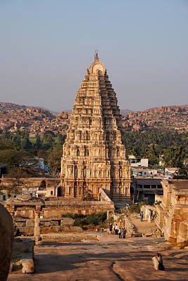Temple At Hampi Poster by Carol Ailles