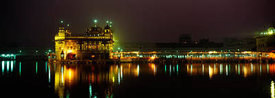 Temple Lit Up At Night, Golden Temple Poster by Panoramic Images
