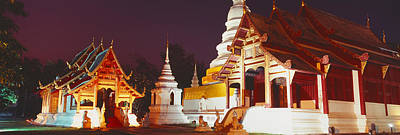 Temple Lit Up At Night, Wat Phra Singh Poster