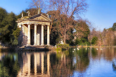 Temple Of Aesculapius In Villa Borghese - Rome Poster by Mark Tisdale
