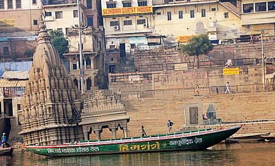 Temple On Boat Poster by Money Sharma