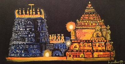 Poster featuring the painting Templelights by Brindha Naveen