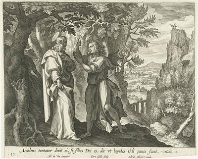 Temptation Of Christ In The Desert, Print Maker Cornelis Poster by Cornelis Galle I And Maerten De Vos