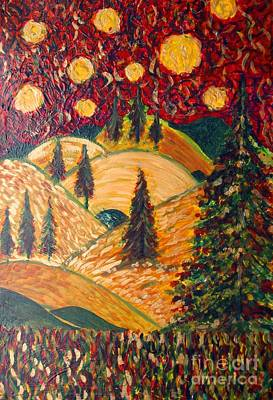 Ten Moons In Scarlet Sky Poster