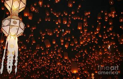 Poster featuring the photograph Ten Thousand Lantern Launch by Nola Lee Kelsey