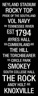 Tennessee College Town Wall Art Poster