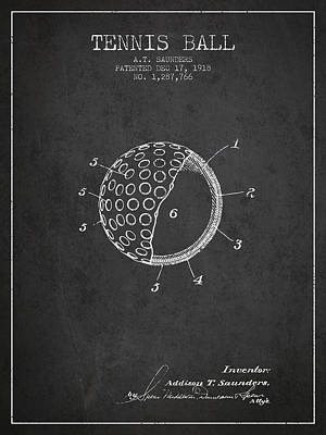 Tennis Ball Patent From 1918 - Charcoal Poster by Aged Pixel
