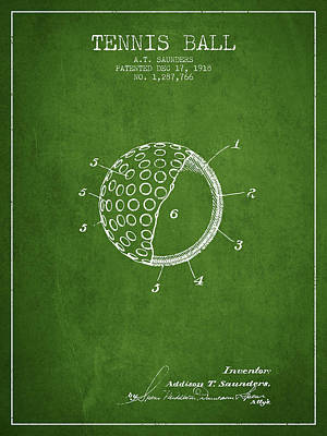 Tennis Ball Patent From 1918 - Green Poster by Aged Pixel