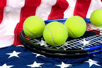 Tennis Equipment On American Flag Poster