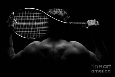 Tennis Player And His Racket Poster