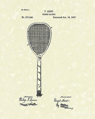 Tennis Racket 1887 Patent Art Poster by Prior Art Design
