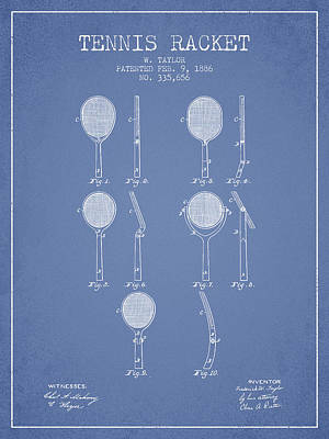 Tennis Racket Patent From 1886 - Light Blue Poster by Aged Pixel