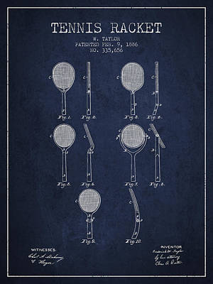 Tennis Racket Patent From 1886 - Navy Blue Poster by Aged Pixel