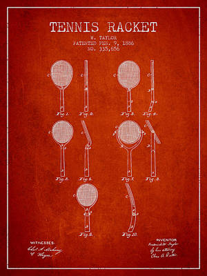 Tennis Racket Patent From 1886 - Red Poster by Aged Pixel