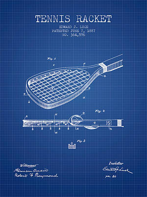 Tennis Racket Patent From 1887 - Blueprint Poster by Aged Pixel