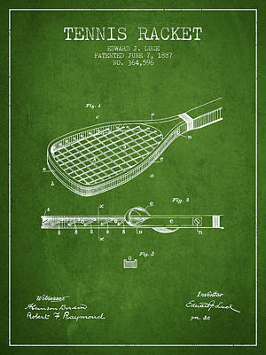 Tennis Racket Patent From 1887 - Green Poster by Aged Pixel