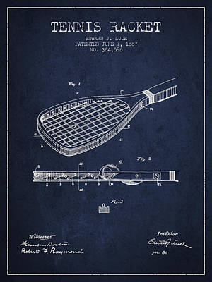 Tennis Racket Patent From 1887 - Navy Blue Poster by Aged Pixel
