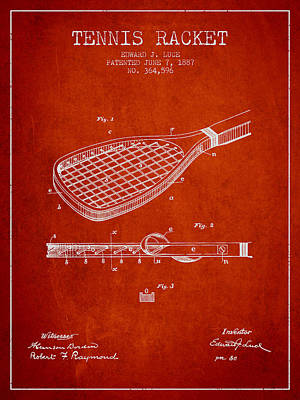 Tennis Racket Patent From 1887 - Red Poster by Aged Pixel