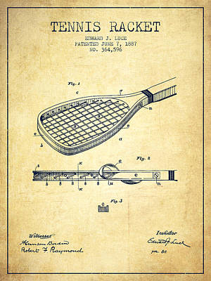 Tennis Racket Patent From 1887 - Vintage Poster by Aged Pixel